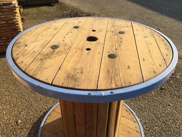 Bobine table haute bois